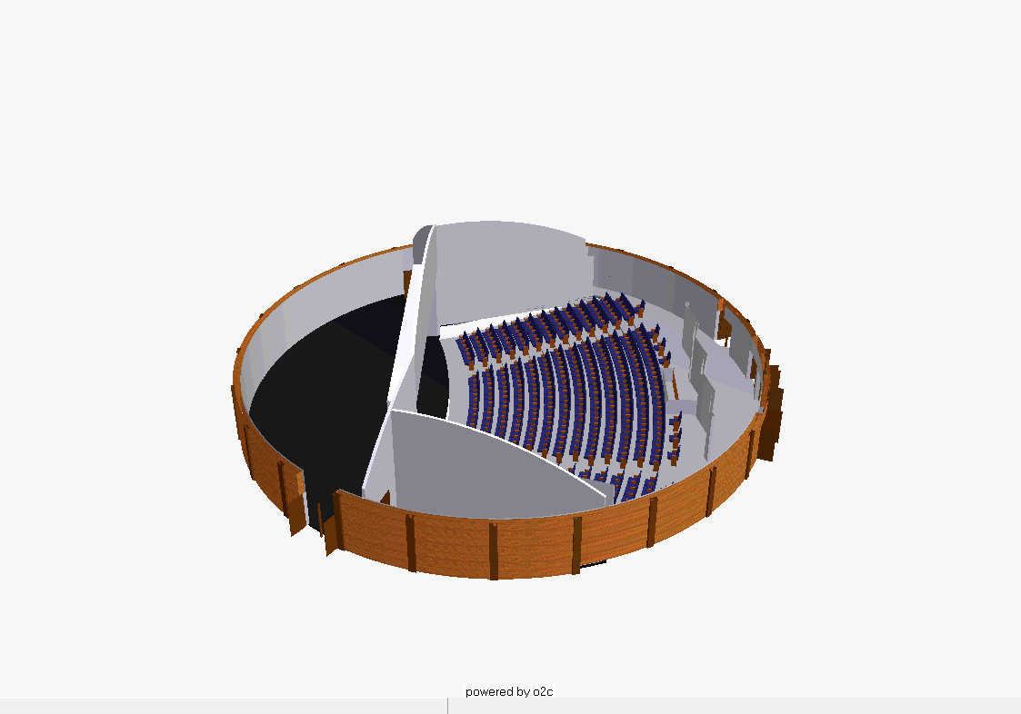 This side view allows you to evaluate the seats and seating area, versus the stage and stage area. The size of the theater could be half as big as shown or ten times as big as shown.