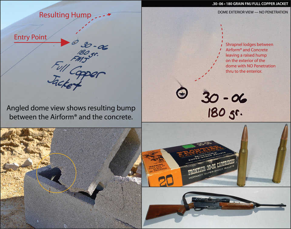 This rifle is a 30-06 and is by far the most powerful projectile that we shot at the Monolithic Dome. For this test we used a 180 grain, full metal jack round. It destroyed the cinder block. There was no penetration into the Monolithic Dome. By the top left picture, you can see that the projectile hit the dome and was deflected up the dome shell.