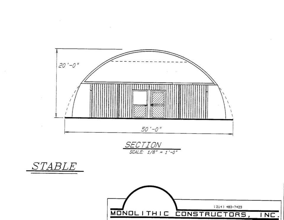 Artist's rendering of simple horse stable and riding arena.