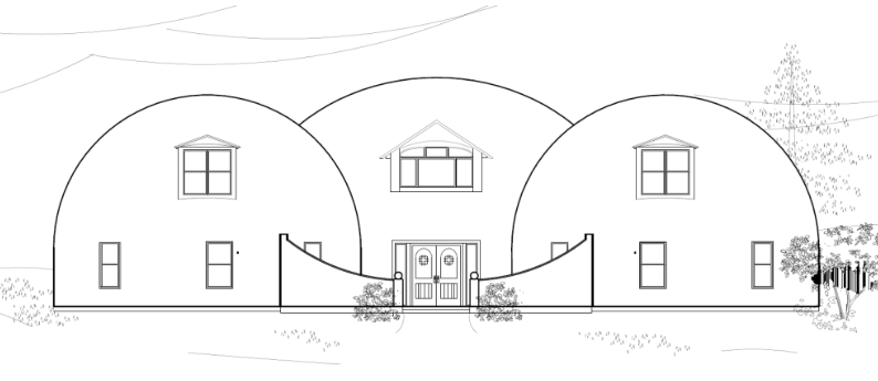 An elevation drawing of the Whiteacre's home.  This dream home in College Station, Texas is comprised of three domes—two 34-ft and one 44-ft diameter Monolithic Domes. Two more domes are also near, one being the garage and the other a pool house, each 30-ft in diameter.