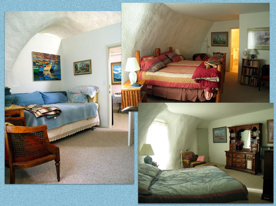 Three of the bedrooms in the Montana House:  The two bedrooms on the right-side of this photo are ideally suited for use in a bed and breakfast. Each of the two rooms has its own bathroom and private exit/entry.