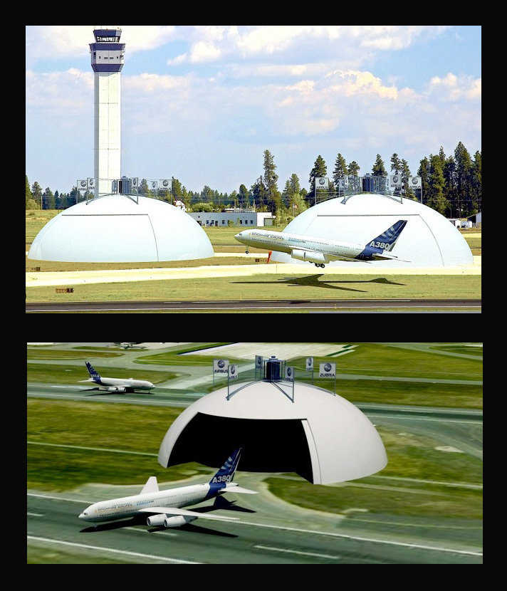Huge Monolithic Dome hangars are capable of protecting even the largest jets including the Airbus A380, Boeing 747, and even the Air Force C5 cargo jet.