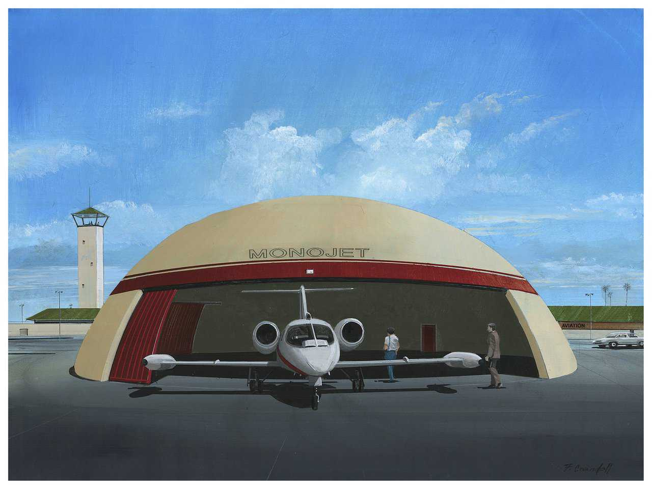 Rendering of a small Monolithic Dome hangar with lateral door used for a private jet. Millions of dollars are spent on private jets and corporate air travel yet these planes are often stored in hangars incapable of protecting the planes during violent weather. A Monolithic Dome hangar is a tiny price to pay to protect a multi-million dollar investment.