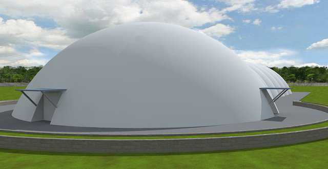 A rendering of the combination dome and caterpillar curling rink design. This is a simple structure meant to be low cost to build and operate.