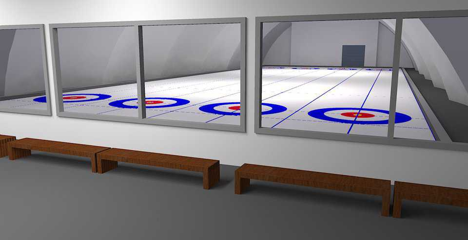 Rendering of the interior viewing area with four curling sheets.