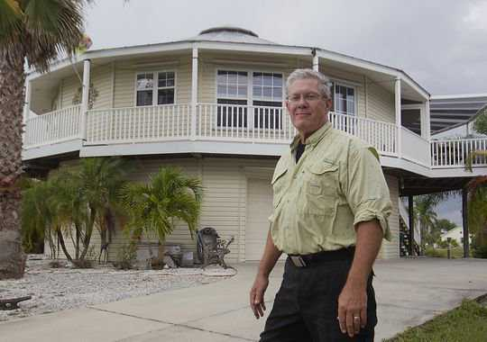 Roger Magill's circular pre-fab house which weathered Hurricane Charley with zero damage.