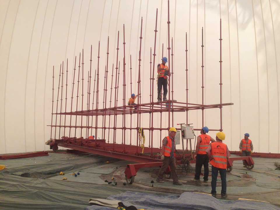 Custom built scaffolding specifically designed to aid in the construction of the shell and infrastructure of the Ankara CSO Concert Hall.