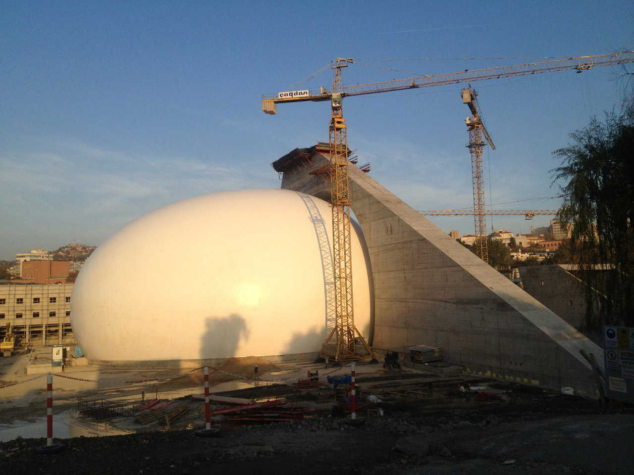 The colossal ellipsoid dome in Ankara, Turkey which will be the Presidential Symphony Orchestra's main concert hall, seating up to 2,000 concert-goers.