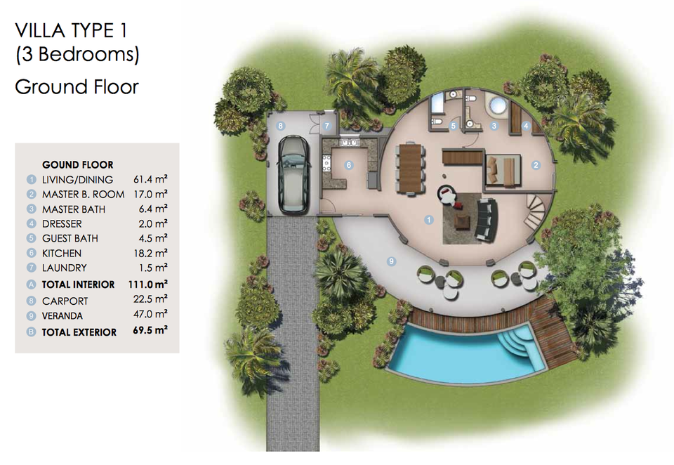 Floor plan for the ground floor of Villa Type 1 in the Domes of Albion.