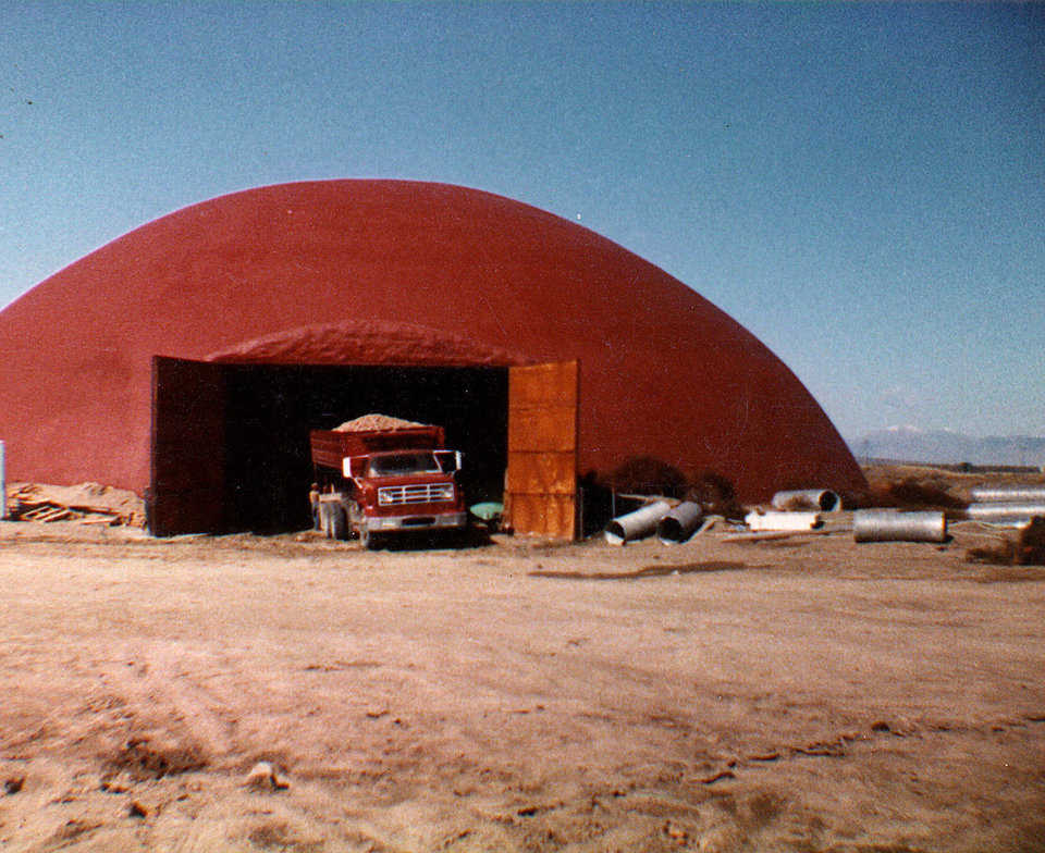 A 105-ft x 35-ft potato cellar built by Monolithic in Hamer, Idaho. (Late 1970s.)