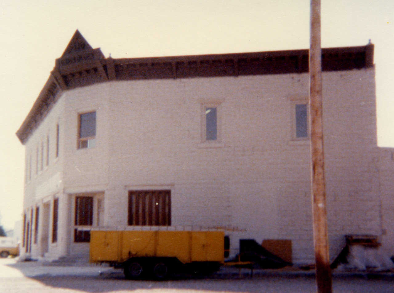 Polyurethane foam trailer in front of South's, Inc. in Shelley, Idaho. (Circa 1976)