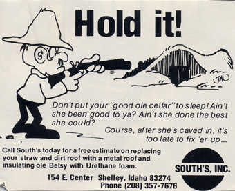 A South's, Inc. potato cellar urethane insulation advertisement in the Potato Growers Magazine. (Early 1970s)