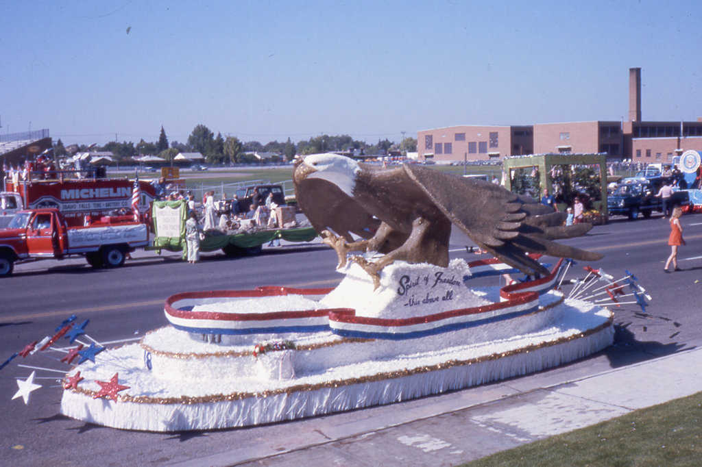 The polyurethane foam Bald Eagle created by Barry, David and Randy South for the July 4, 1976 Bicentennial Parade in Idaho Falls, Idaho.