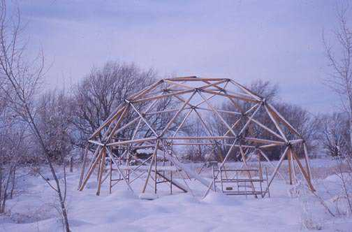 Framework for the geodesic dome storage building David South built in Shelley, Idaho, just prior to construction of Monolithic's first concrete dome—1974.