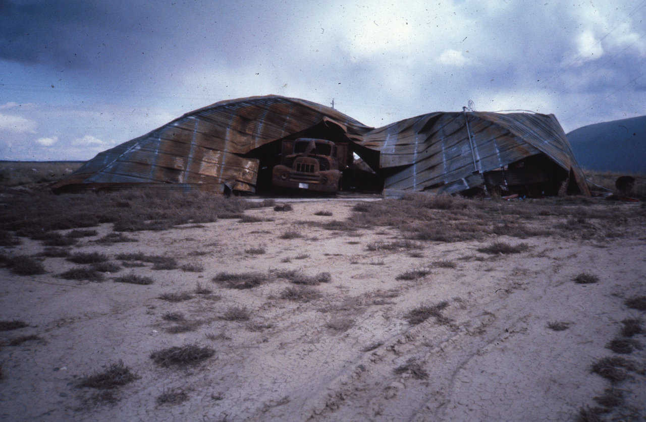 Polyurethane foamed potato cellar completely destroyed by fire. (Circa 1974)