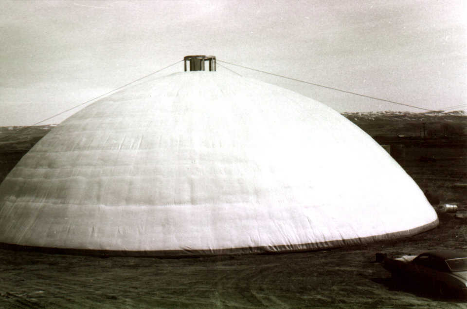 A potato cellar in Shelley, Idaho, the first dome ever constructed using Monolithic's patented construction process – April 1976.