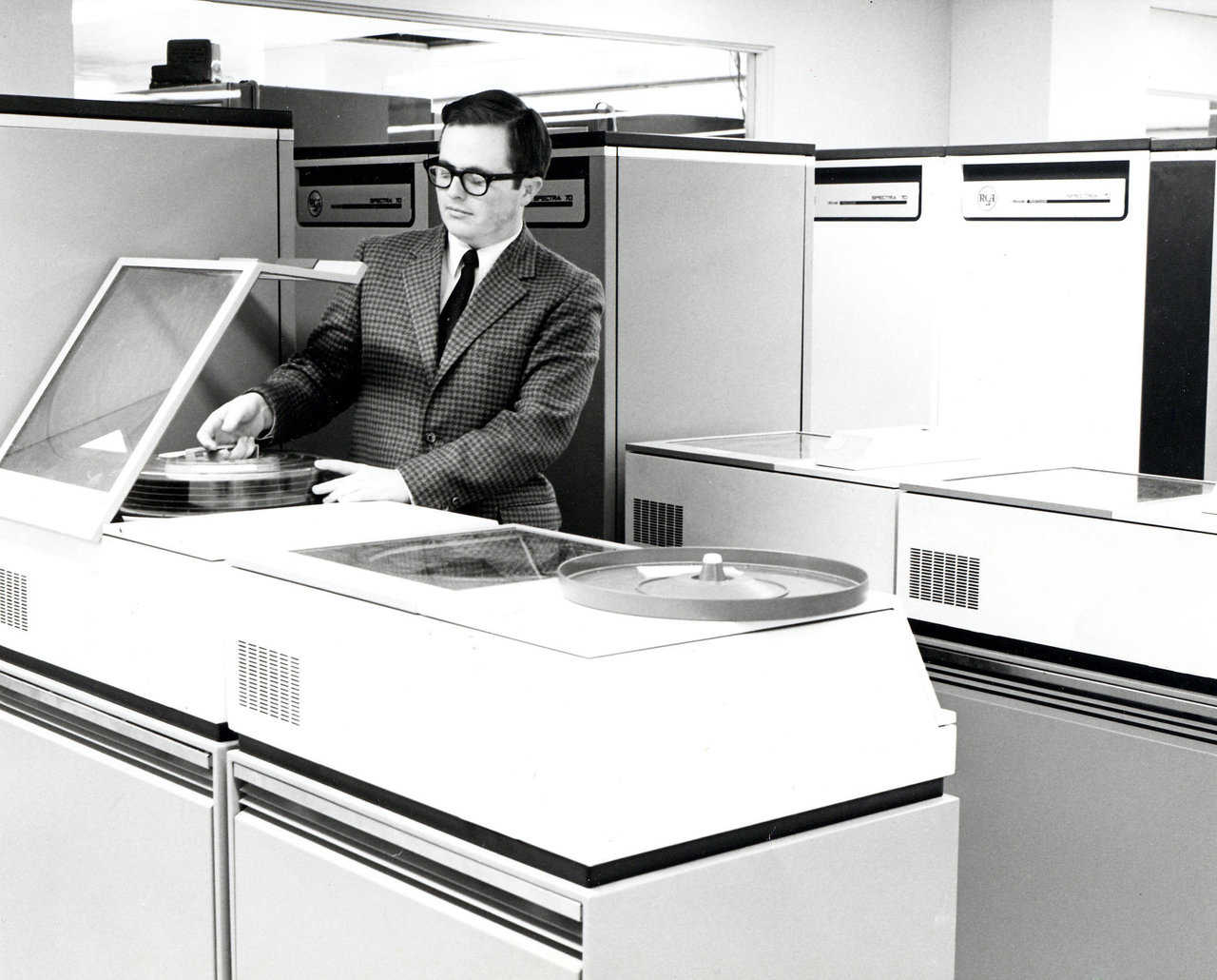 David B. South in the computer center at Chicago Northwestern Railroad in Chicago, Illinois, 1968.
