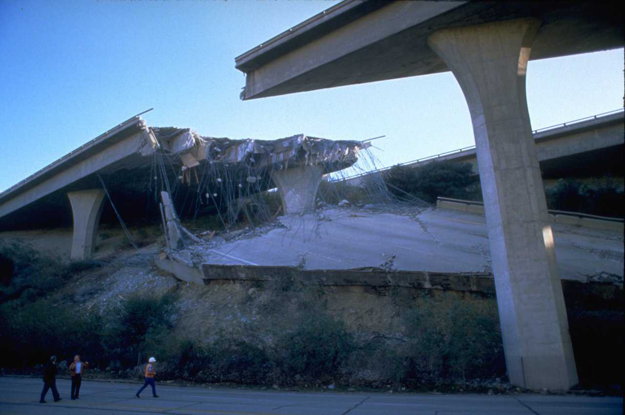 Northridge Earthquake, CA, January 17, 1994. Many roads, including bridges and elevated highways were damaged by the 6.7 magnitude earthquake. Approximately 114,000 residential and commercial structures were damaged and 72 deaths were attributed to the earthquake. Damage costs were estimated at $25 billion. FEMA News Photo