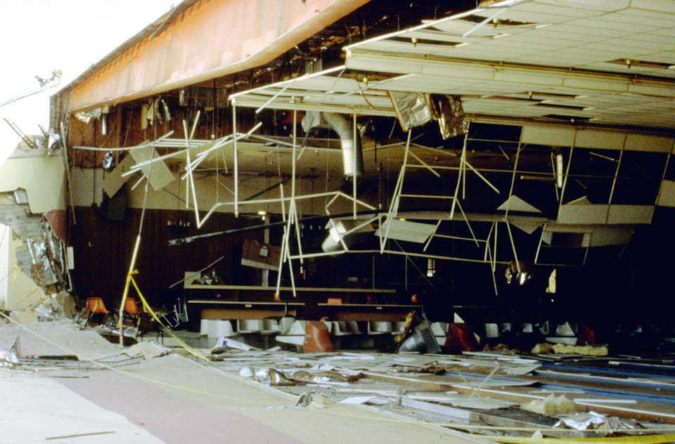 Earthquake damage to a bowling alley in Yucca Valley, Southern California. The damage was done on June 28 during the 1992 Landers earthquake.