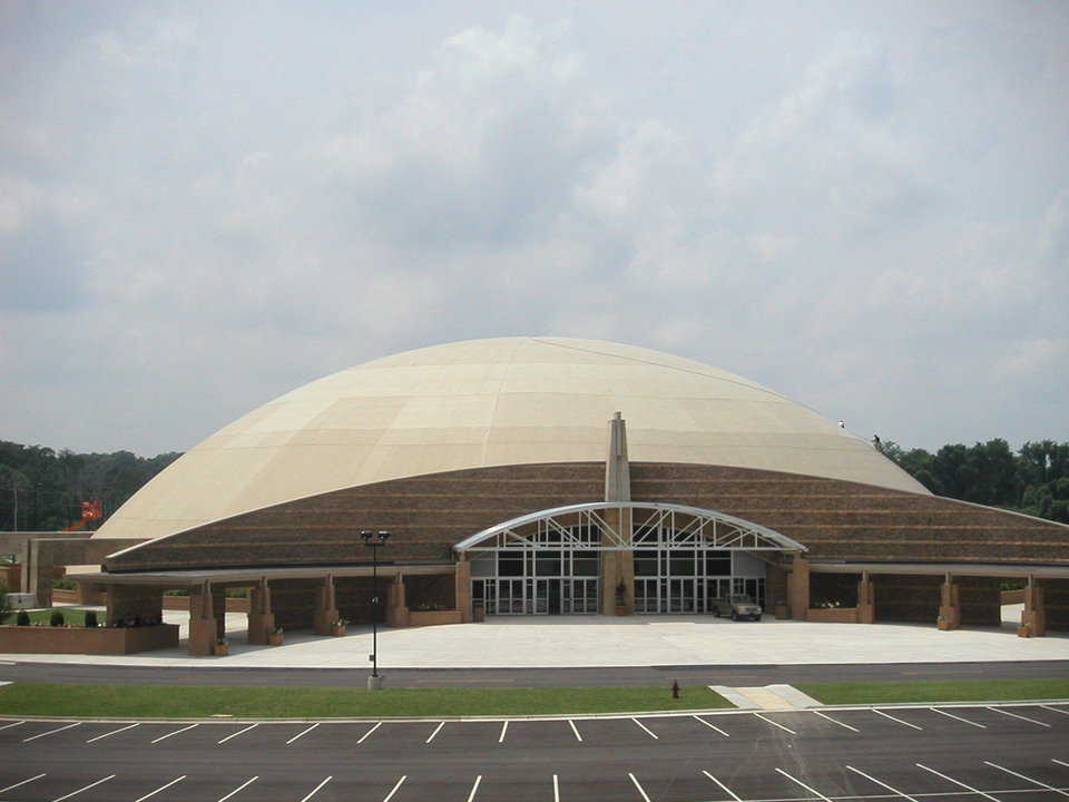 Surface area — Faith Chapel's dome has a surface area of approximately two acres or 86,000 square feet. It has been covered with porcelain tile.
