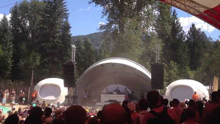 Two 15' ecoshells built by Cascade Domes as part of a stage for a local music festival.
