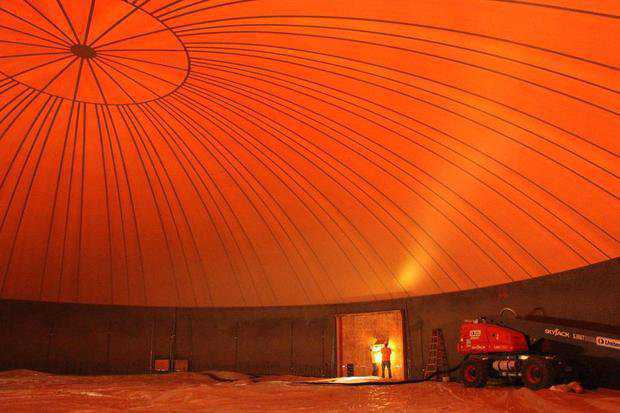 Newly inflated Airform membrane of the gymnasium at Wasuma Elementary School in Auwahnee, California.