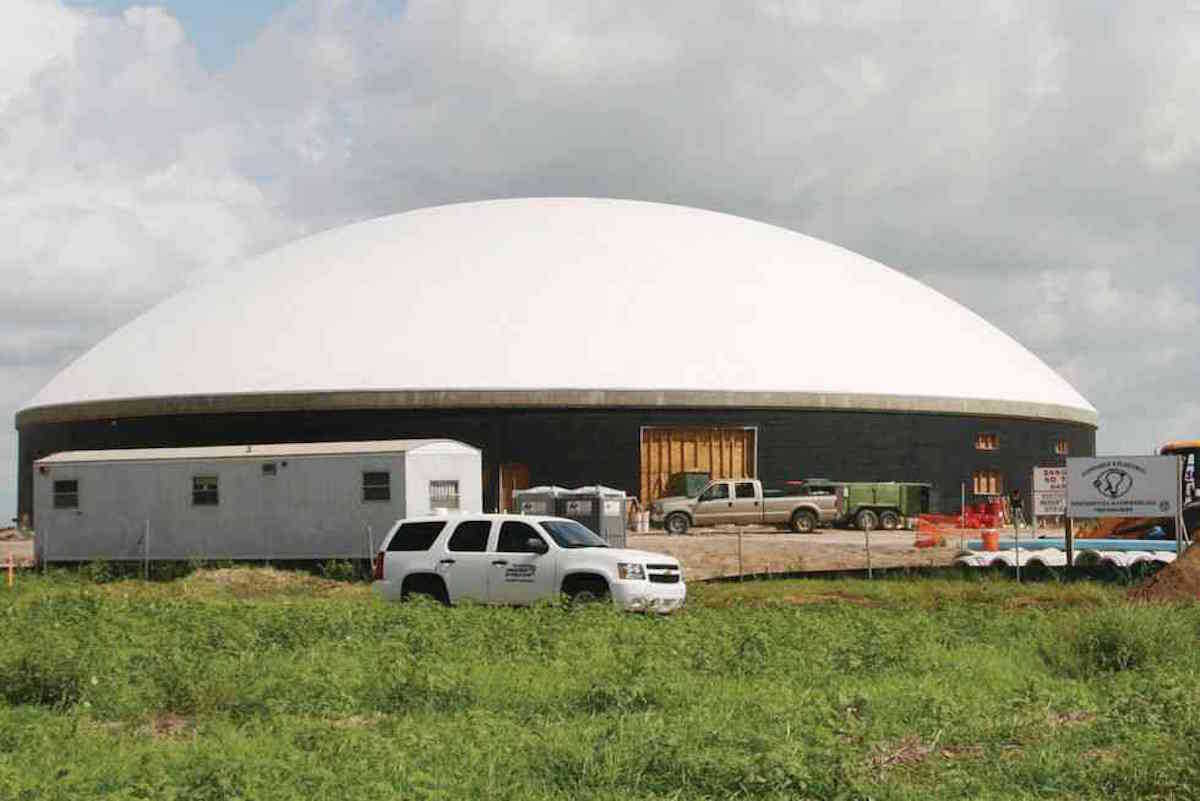 Newly inflated Monolithic Dome under construction in Mercedes, Texas.