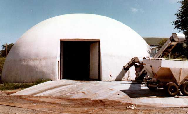 The first Monolithic Dome fertilizer storage. Built in Chandler, Oklahoma, 1978.