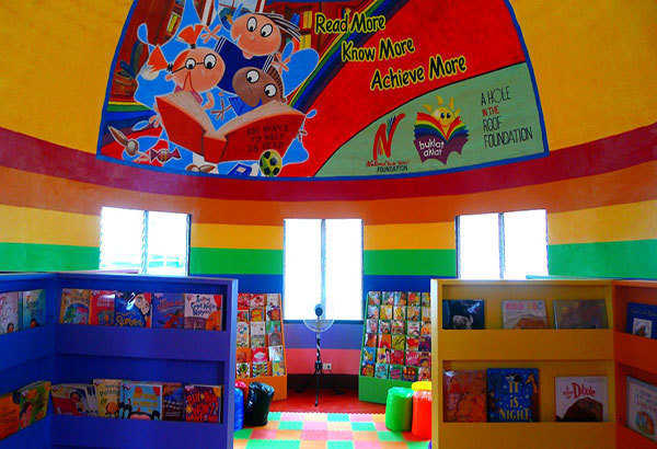 Inside the new children's DRY library at the Pawing Elementary School in Palo, Leyte, Philippines.