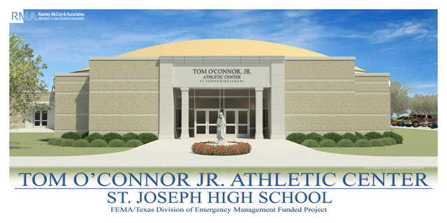 Rendering of nearly complete safe-room / gymnasium for St. Joseph High School in Victoria, Texas.