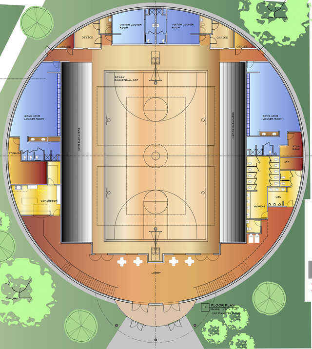 Plan for the new gymnasium includes seating for 1,200. The gym is expected to hold 3,000 during an emergency.