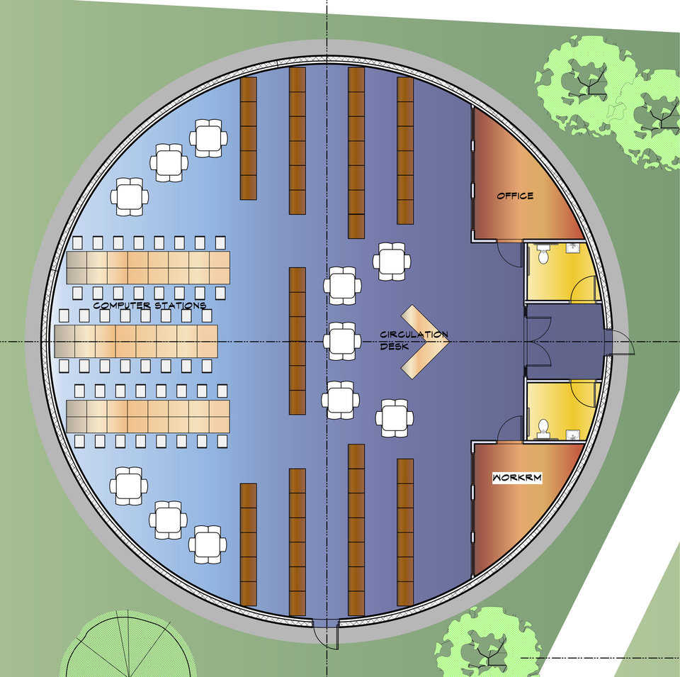 Plan for the library and computer center at the elementary school. It's expected to hold 1,000 in an emergency.