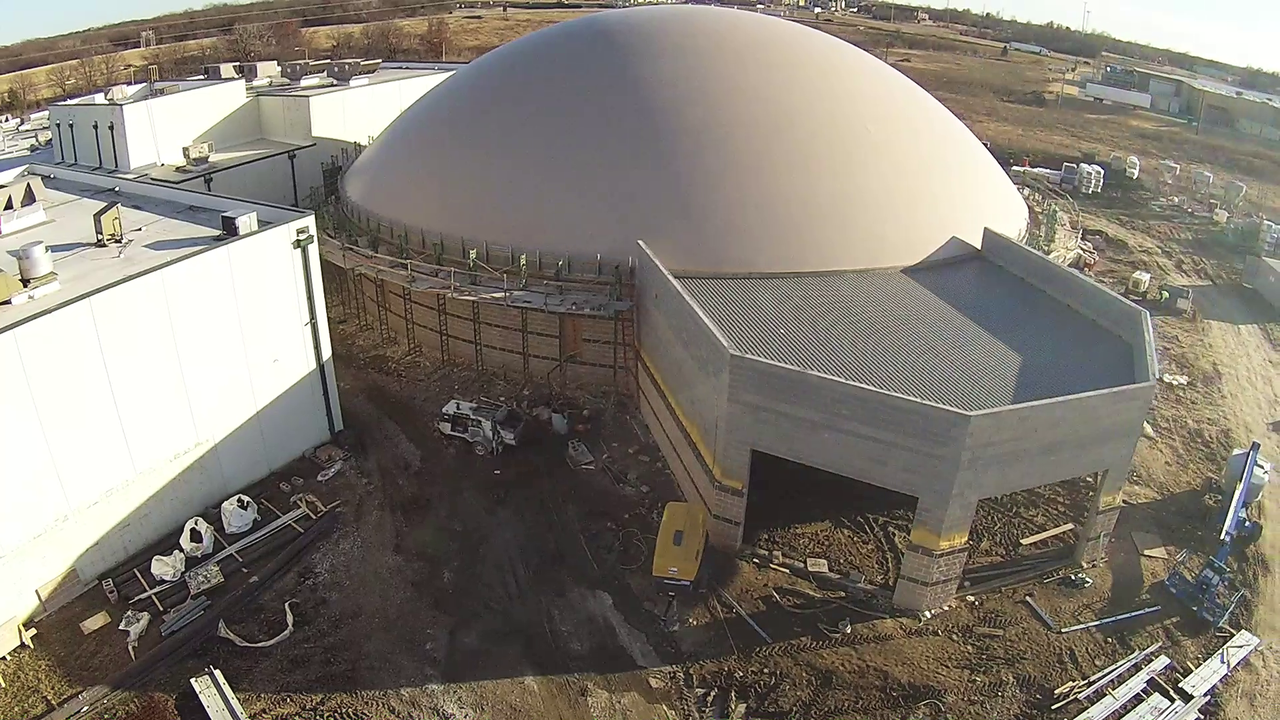 Screen capture from aerial video of new Monolithic Dome FEMA safe room under construction.
