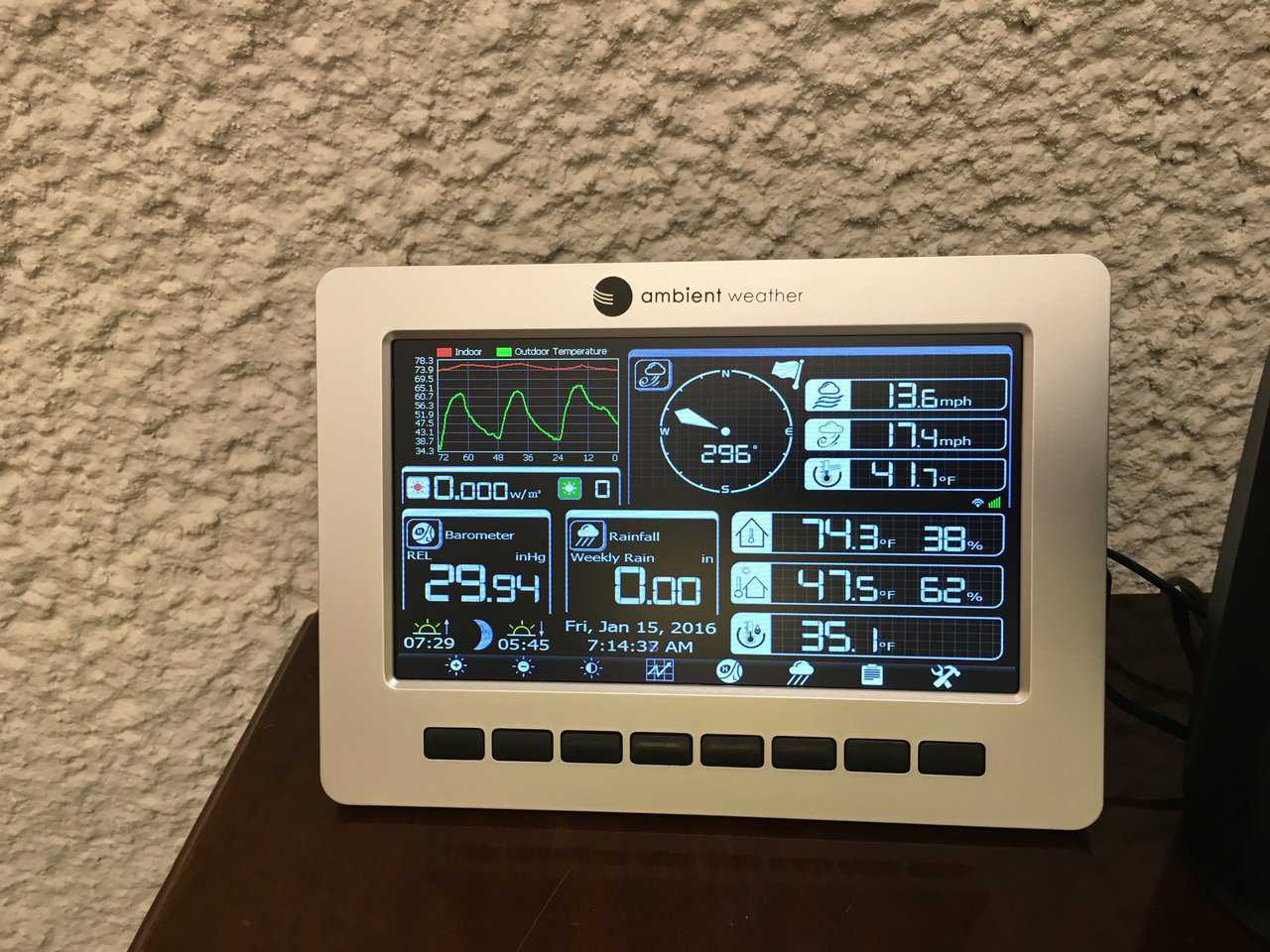 Weather data on the personal weather station wireless controller. It's nice to see a live view of all weather data anytime we want.