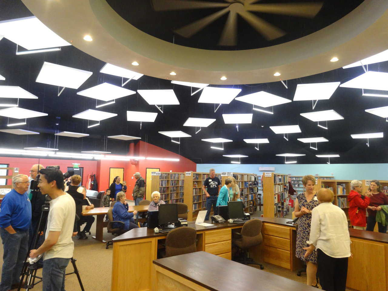 Patrons view library at open house