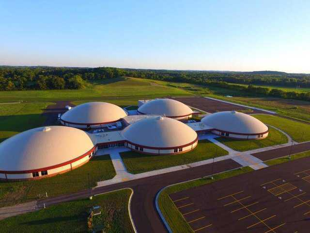 Aerial shot of five dome school