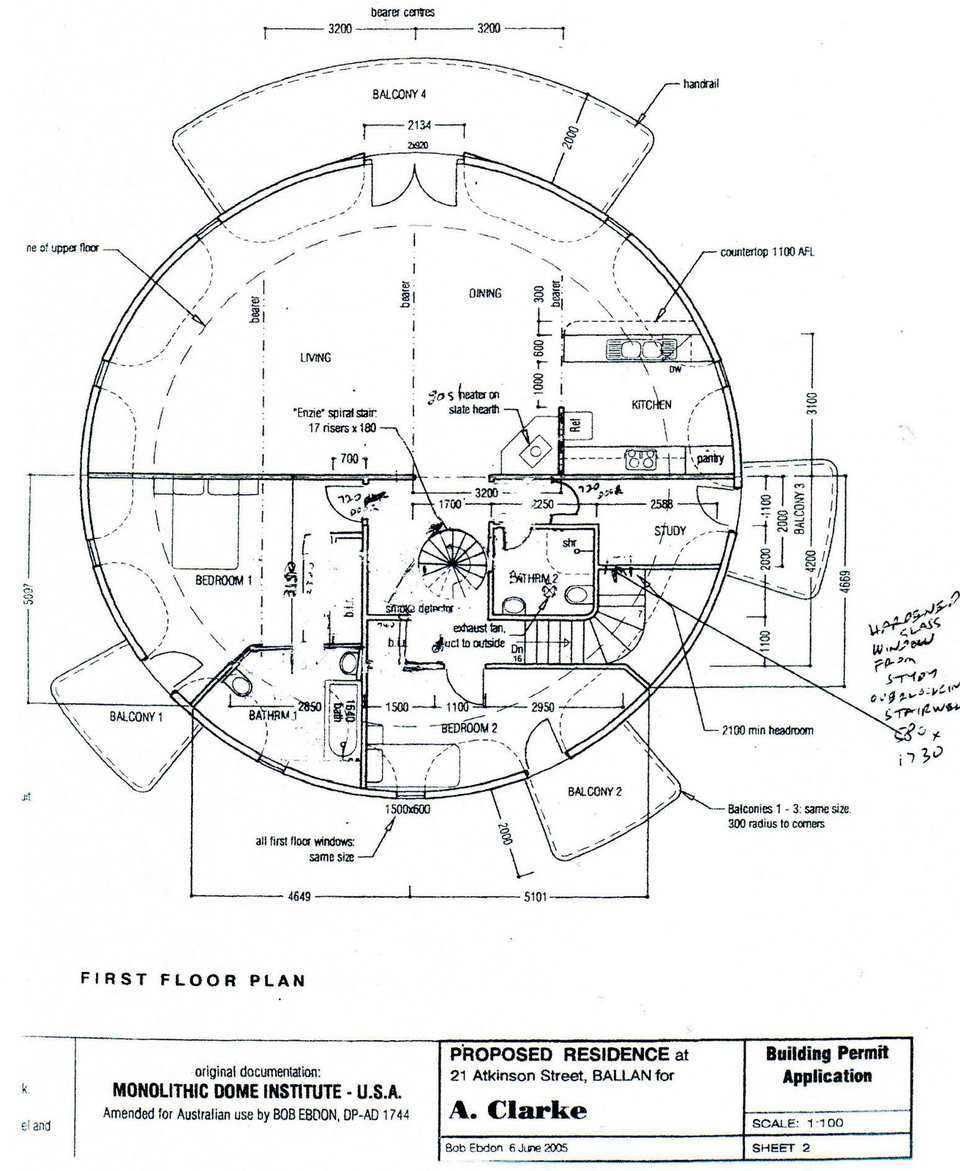 Floor plan of the dome, shown here in the upper floor