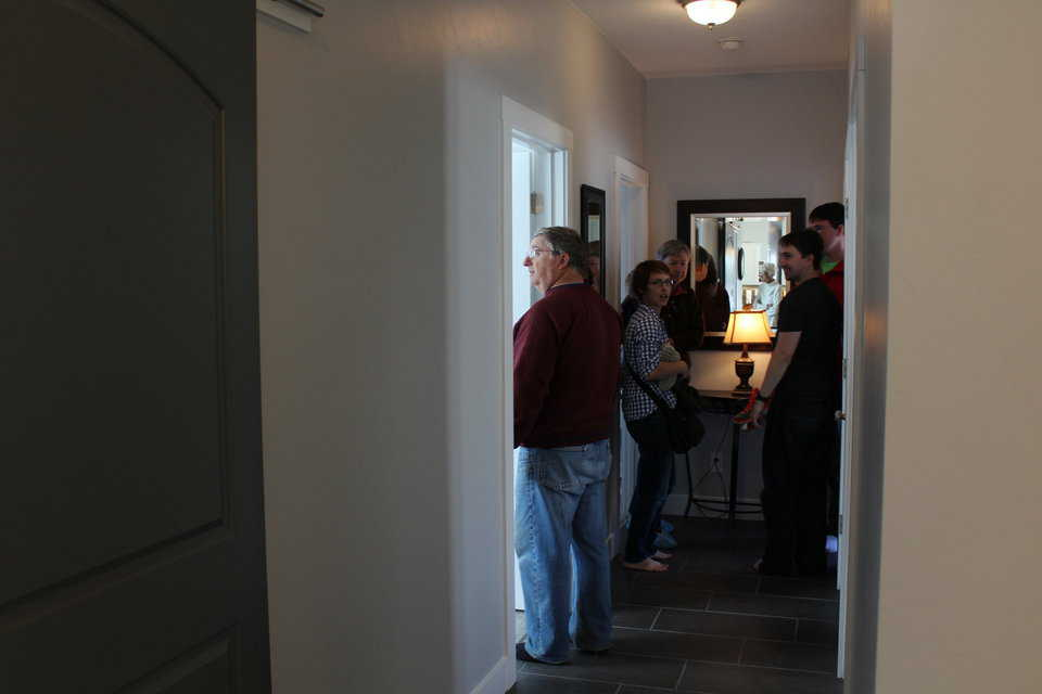 Visitors in hallway