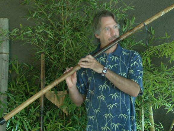 Bamboo flute playing