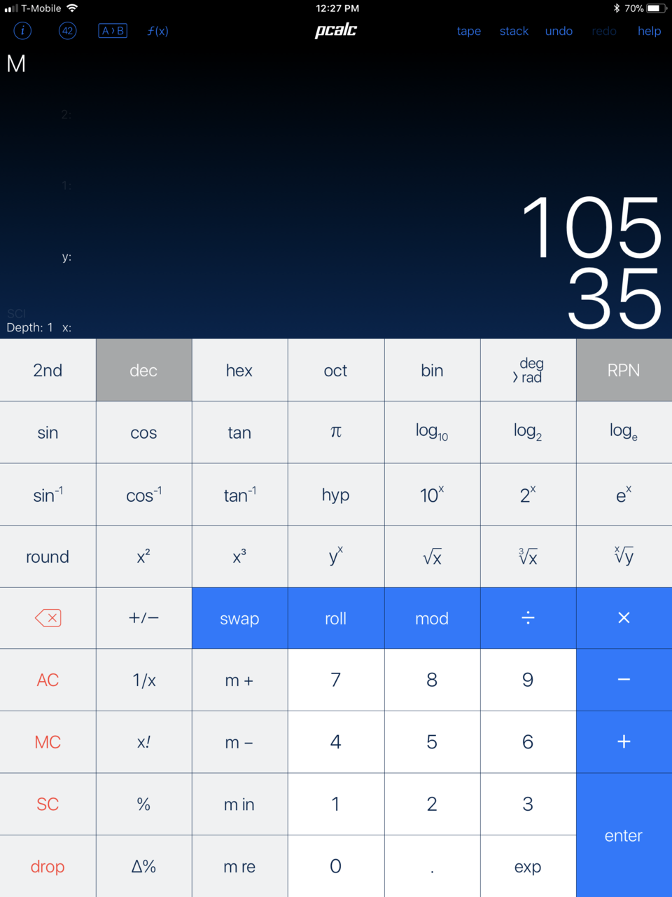 PCalc Pro for the iPad.