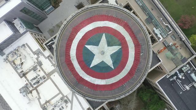 Top view of Captain America's shield