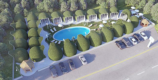 Aerial rendering of IGLOO Beach Lodge