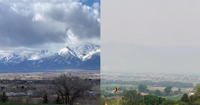 Comparison of clear and smoky views of the Wellsville mountain range