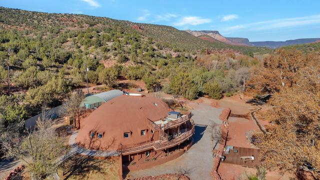 Red rock coated Monolithic Dome home in Sedona, Arizona.